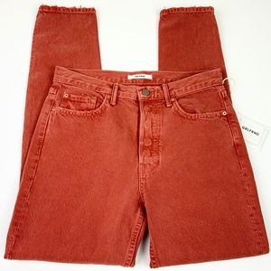 GRLFRND NWT High Rise Burnt Orange Denim Skinnies